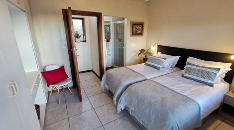 Room 1 twin beds with en-suite shower & private toilet